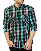 Red Tree Cool Checkered Shirt With Green & Grey Contrast RT2408
