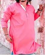 Pink Poplin With White cont Kurta RT4155