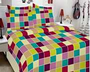 Nimras Bed Sheet Multi Colors Block Design With Pillow Cover Set