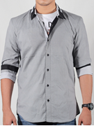 Red Tree Grey Printed Woven Shirt For Men