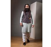 Ahmed & Waleed Brown Fabric Khadder Kurta With Waist Coat