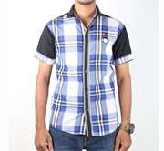DS Collection Casual Shirt Half Sleeves White Check With Black Sleeves & Back