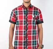 DS Collection Casual Shirt Half Sleeves Red & Black