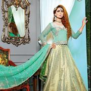 Tanrica Green Jamawar Lahnga with embroidered choli and dupata