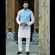 Hasham Baig linien pastal pink short kurta