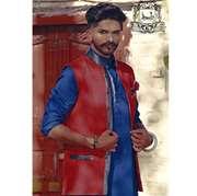 Cotton royal blue kurta and chicken kari red waistcoat