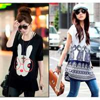 Pack of 2 Loose Fitting Stylish Blue Top + Bunny Top for Her