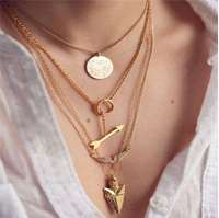 Multi Layer Irregular Crystal Golden Pendant Chain Necklace