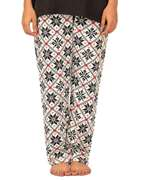 Nighty 4 u White & Black Cotton Jersey Printed Pajama for Women - 037