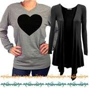 Pack Of 2: 1 Heart Shaped V-Neck T-Shirt + 1 Black Shrug