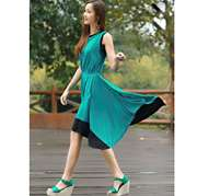 Stylish Sea Green Sleeveless Dress For Women