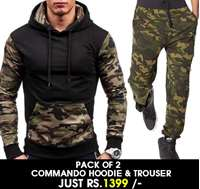 Stylish Pack of 2 commando Hoodie & Trouser  BD-bF-022