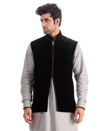 Buy Edge Black Velvet Waist Coat for Men  online