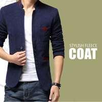 Blue Mandarin Collar Fleece Coat