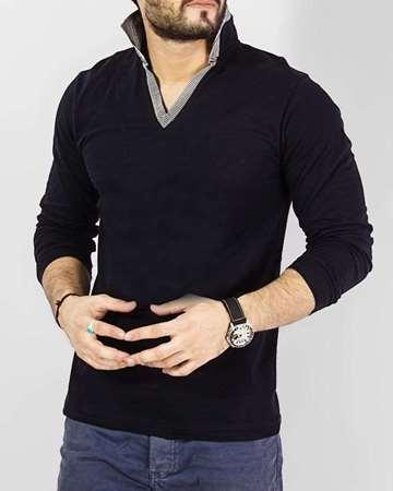 Buy Qzs Clothing Blue Cotton Decent Double Collar V Neck T- Shirt  online