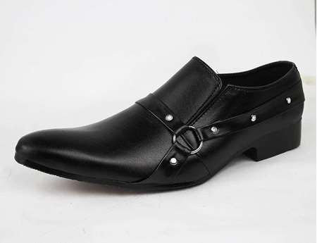 Buy Strip Style Formal Black Shoes for Men  online