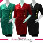 Buy Women Flare Neck With Stylish Buttons Top  online