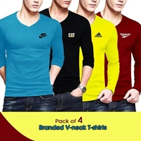 Special Diamond Deal Pack of 4 Men V-Neck Long Sleeves T-shirt