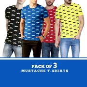 Special Diamond Deal Pack Of 3 Mustache T-Shirts