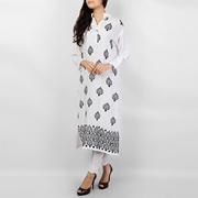 Special Diamond Deal Afreen's Collection White Linen Kurta with Black Leaf Embroidery