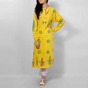 Special Diamond Deal Afreen's Collection Yellow Linen Kurta with Green & Brown Print