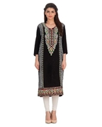 Afreen's Collection Black Linen Kurta With Multi Color Embroidery