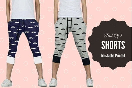 Buy Special Diamond Deal Pack Of 2 Mustache Printed Shorts   online