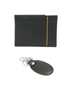 House of Leather - Black Leather Wallet and Key Ring Set