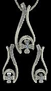 ARY Jewellers Silver Locket Set S006