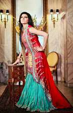 Amna Ajmal Gold Kurti Red Gown Sea Green Gharara Bridal